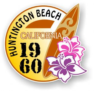 Huntington Beach 1960 Surfer Surfing Design Vinyl Car sticker decal  95x98mm